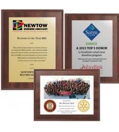 """9"""" x 12"""" Cherry Finish Plaque w/ Full Color Sublimated Imprint"""