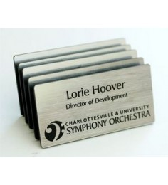 "Engraved Plastic Name Badge with Personalization 1.5"" x 3"""
