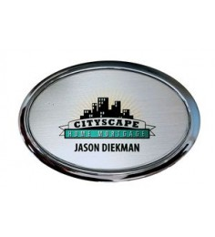 "Silver Framed Oval Name Badge w/Full Color Imprint & Personalization (2 3/4"" x 1 7/8"")"